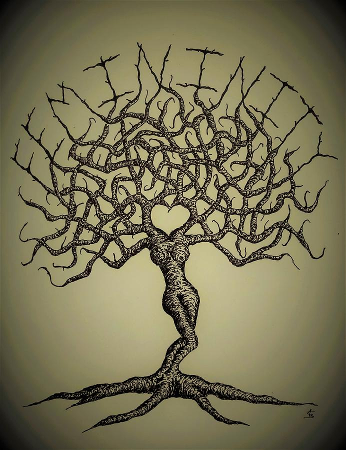 Femininity Love Tree b/w by Aaron Bombalicki