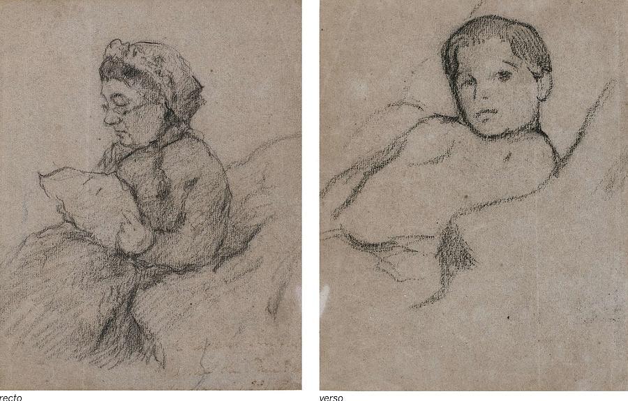 Femme Assise Rectojeune Garon  Verso  by Paul Gauguin