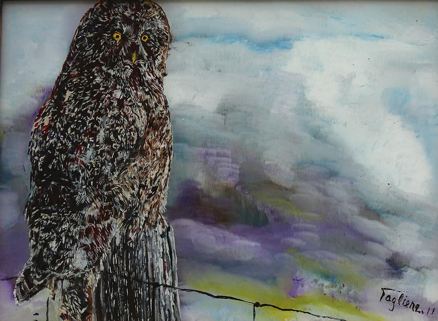 Reverse Painting On Glass Painting - Fencepost Sentry by Sally Tagliere