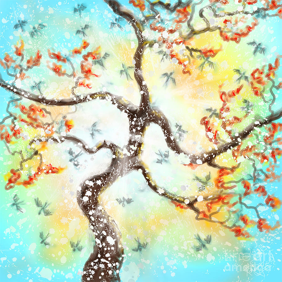 Feng Shui Painting - Feng Shui Your Life - 100 Birds by Remy Francis