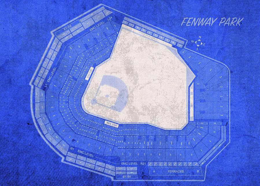 Fenway Park Mixed Media - Fenway Park Boston Seating Chart Vintage Patent Blueprint by Design Turnpike