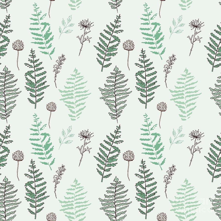 Cherry Digital Art - Fern Seamless Pattern. Botanical by Esk1m0