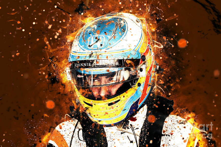 Fernando Alonso 2018 Abstract Painting By Therod