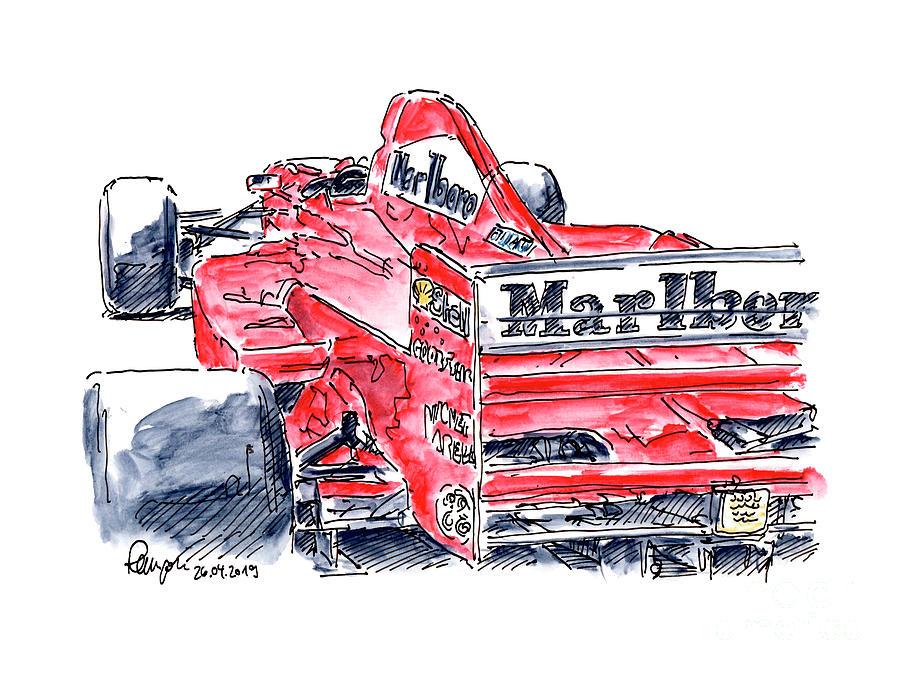 Ferrari 310 B F1 Racecar Ink Drawing And Watercolor Drawing By Frank Ramspott