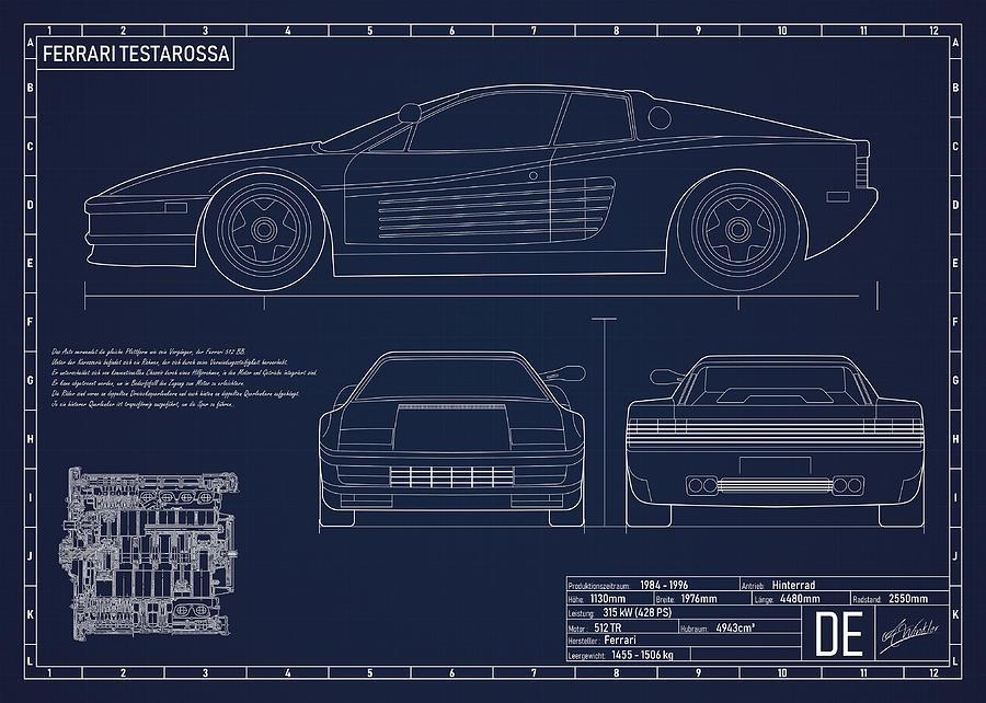 Ferrari Testarossa Digital Art By Alexander Winkler