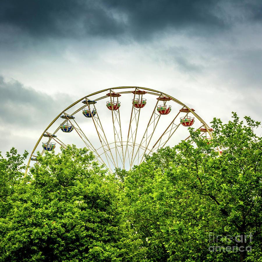 Amusement Photograph - Ferris Wheel Behind Trees by Bernard Jaubert