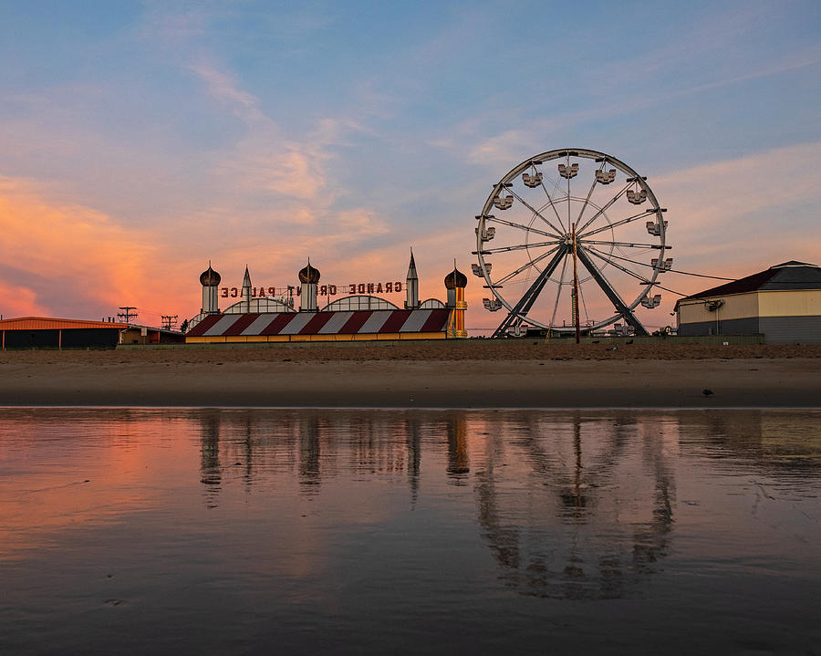 Old Photograph - Ferris Wheel On The Beach Old Orchard Beach Maine Sunrise by Toby McGuire