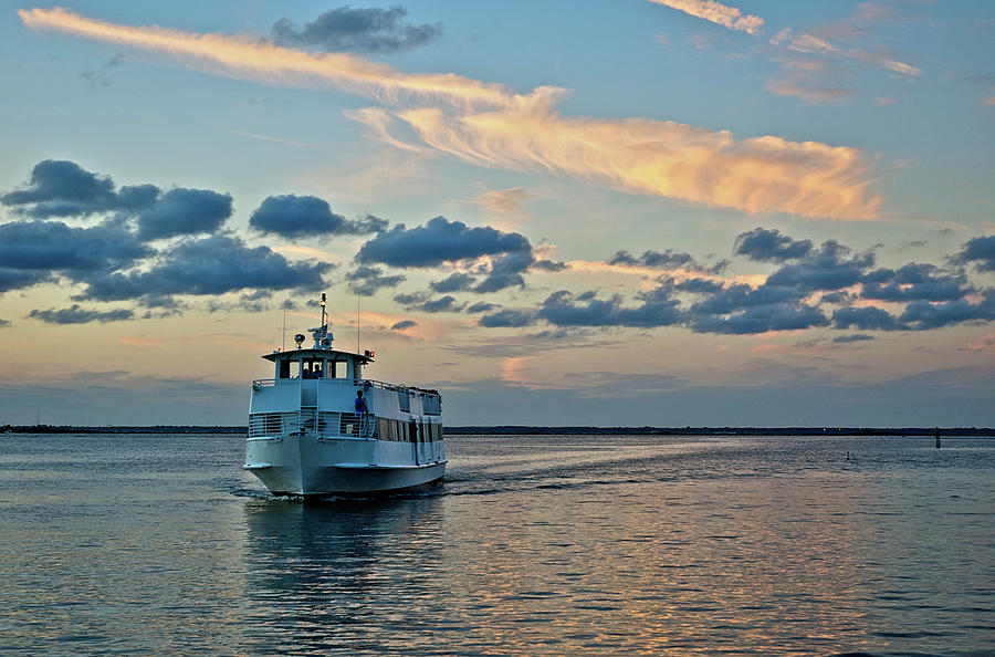 Ferry Boat On Great South Bay, Long Photograph by Jaylazarin
