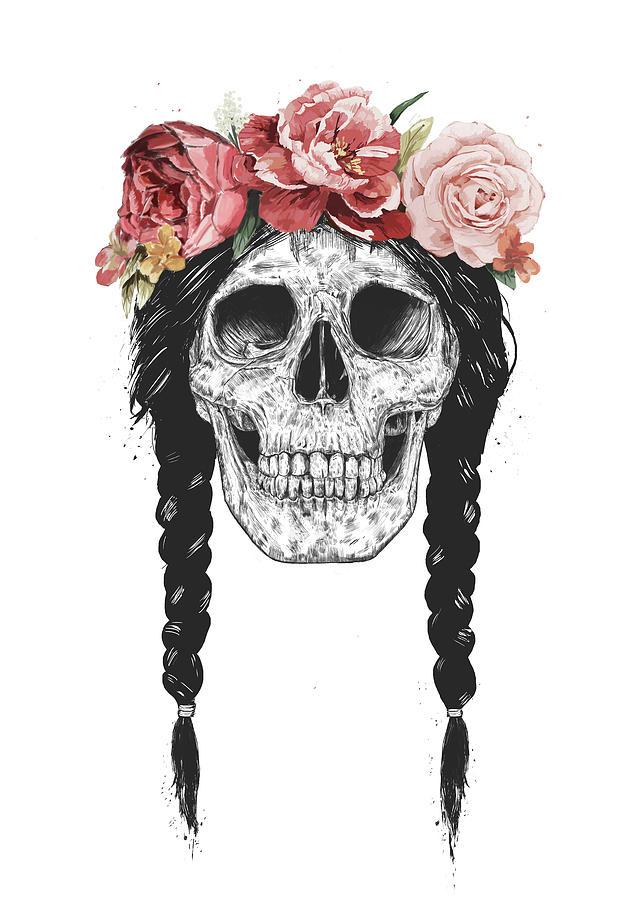 Skull Drawing - Festival skull by Balazs Solti