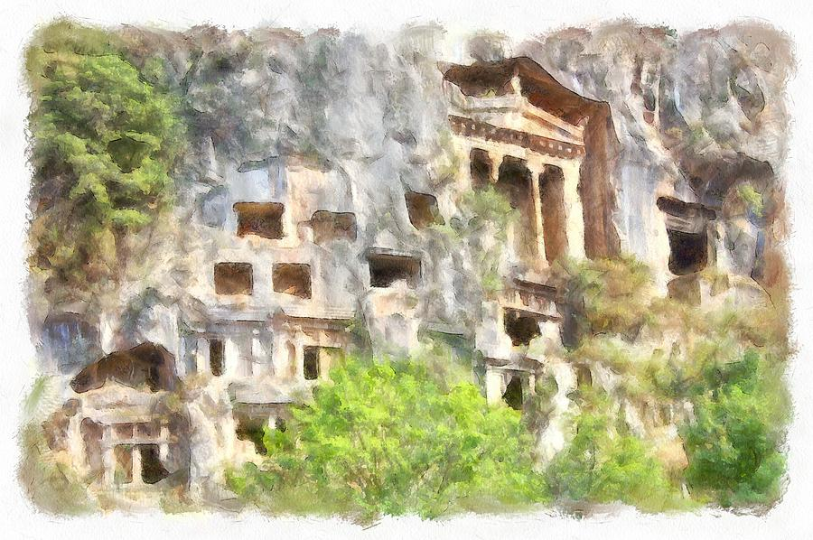 Fethiye Lycian Tombs Watercolor by Taiche Acrylic Art