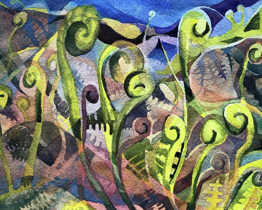 Fiddlehead Painting - Fiddle Heads IIi by Lynne Bolwell
