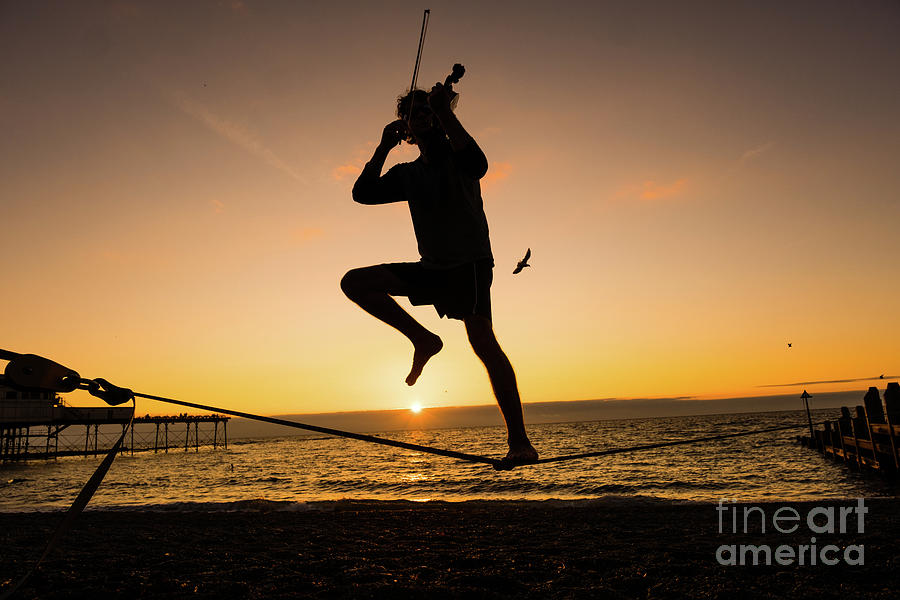 Aberystwyth Photograph - Fiddle Playing At Sunset In Aberystwyth by Keith Morris