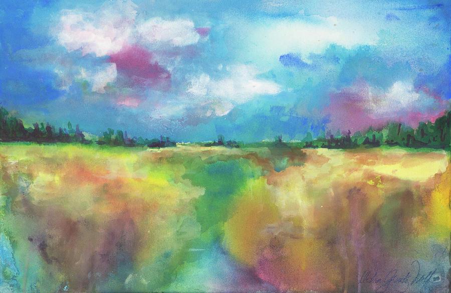 Summer Marsh Painting by Debra Grantz Wolf