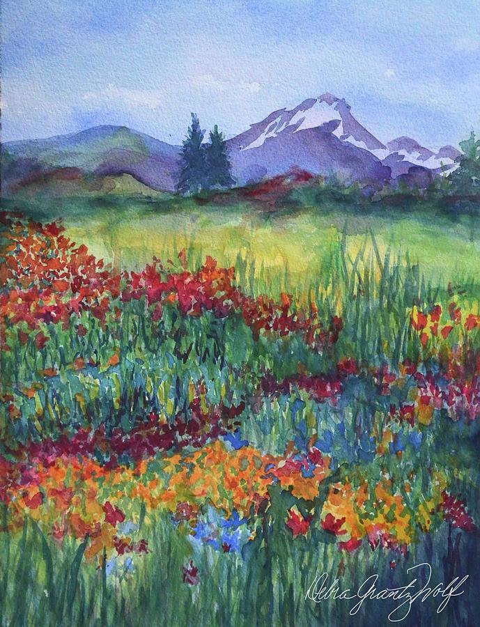 California Mountainside Painting by Debra Grantz Wolf