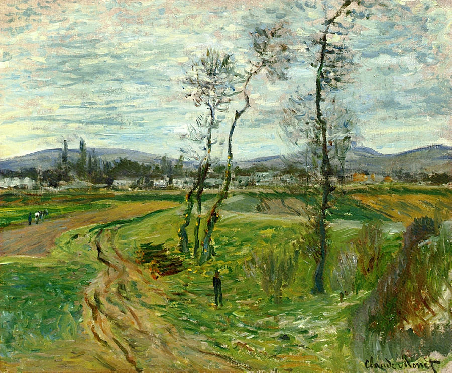 Claude Monet Painting - Field At Gennevilliers, 1877 by Claude Monet