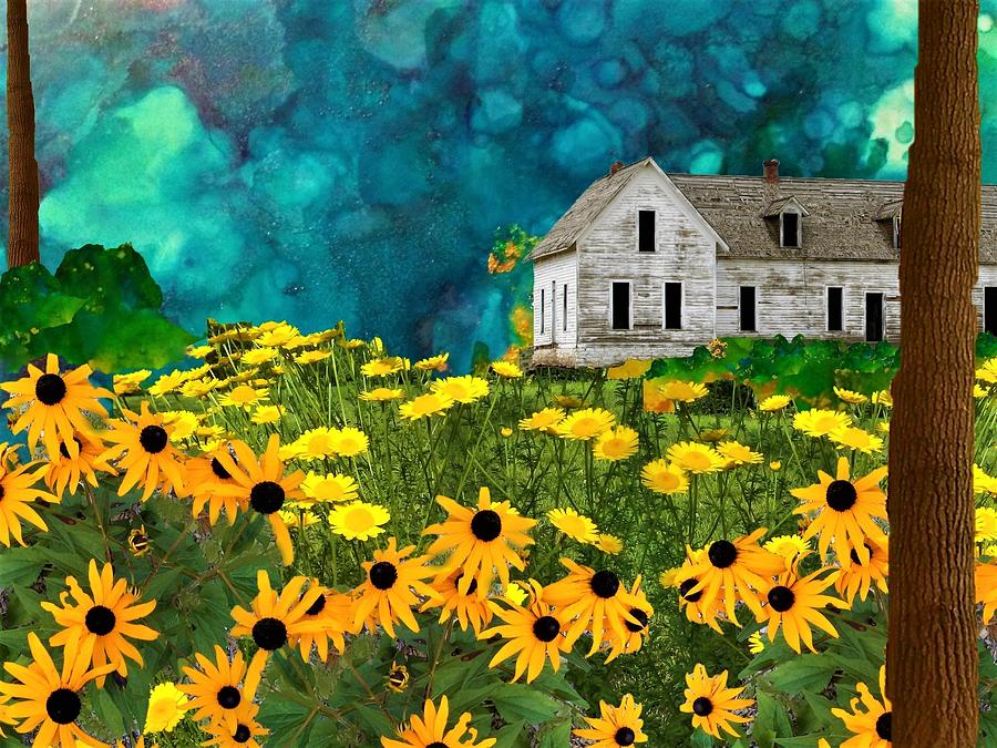 Farmhouse Mixed Media - Field Of Yellow by Mary Poliquin - Policain Creations