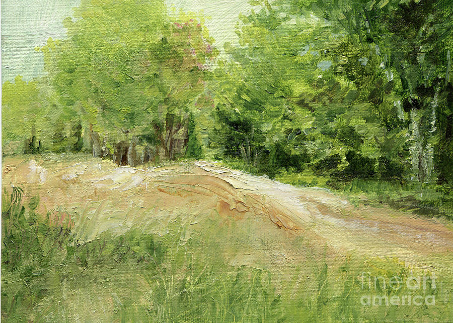 Woodland Trees and Dirt Road by Laurie Rohner