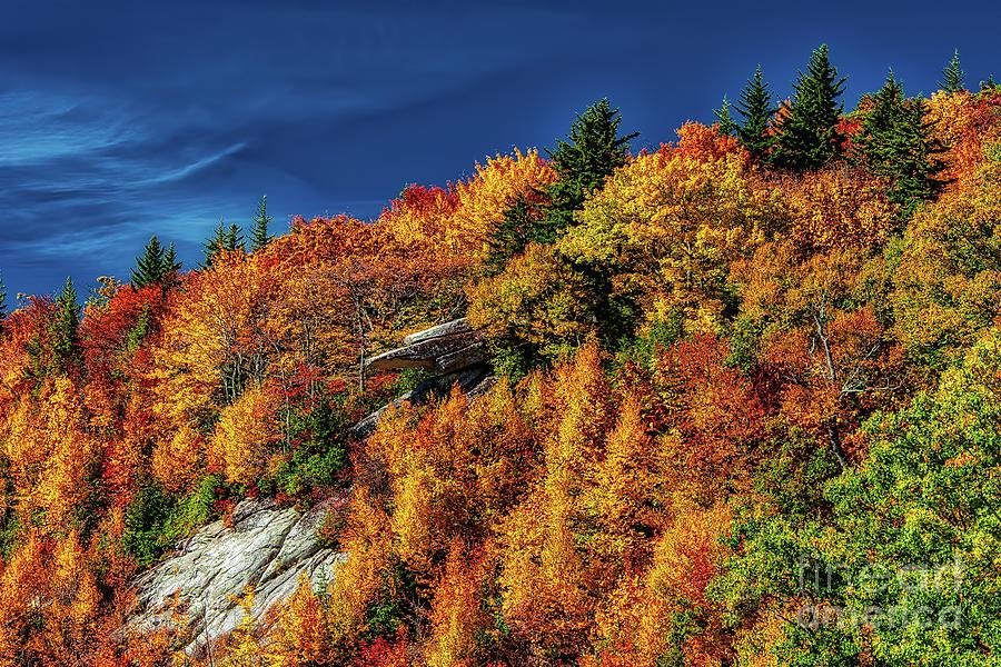 Fiery Autumn Colors on the Blue Ridge Parkway by Dan Carmichael