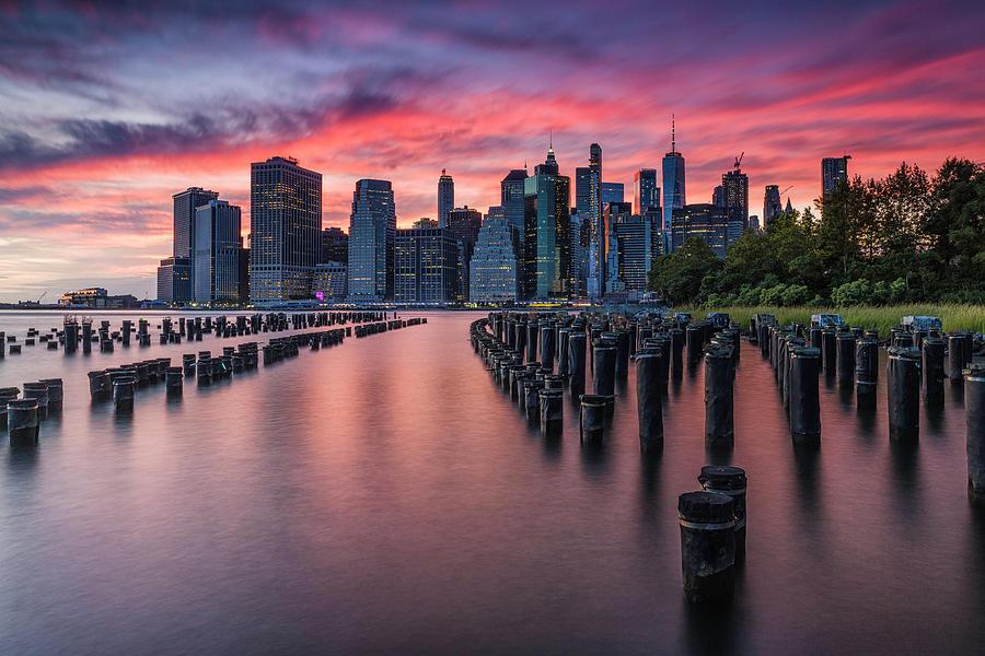 Fiery Manhattan Sunset by Fran Gallogly