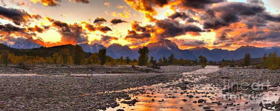 Fiery Orange Teton Sunset Panorama by Adam Jewell