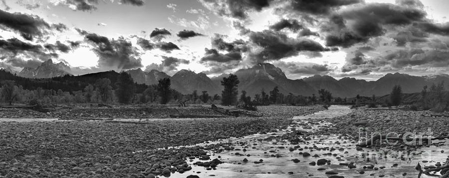 Fiery Orange Teton Sunset Panorama Black And White by Adam Jewell