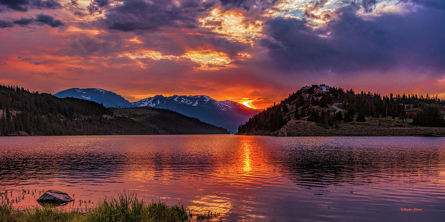 Fiery Sunset at Summit Cove Panorama by Stephen Johnson