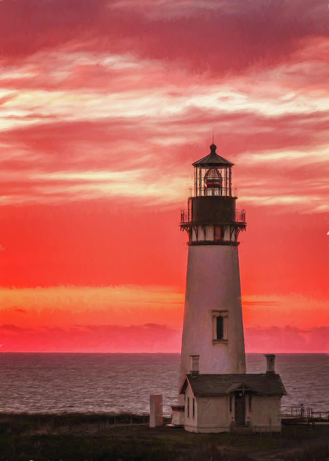 Fiery Sunset at Yaquina Head Light by Jaki Miller