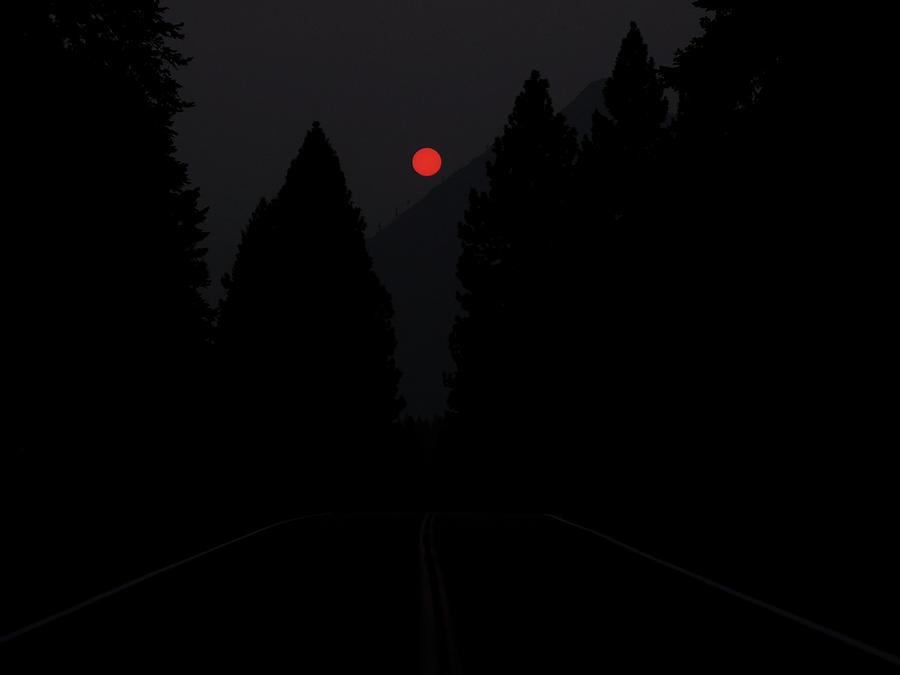 Fiery Sunset in a Smokey Mt Shasta by Rebecca Dru