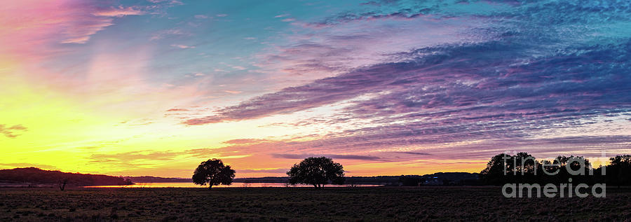 Central Photograph - Fiery Sunset Over Canyon Lake - Comal County - Central Texas Hill Country by Silvio Ligutti