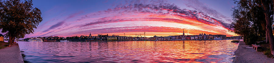 Fiery Photograph - Fiery sunset over the Stockholm Old City  by Dejan Kostic