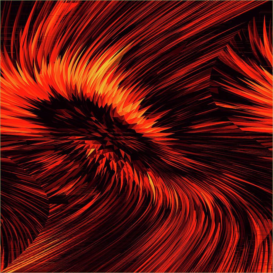 Fiery Swirling Creative Abstract Design Digital Art by Raj Kamal