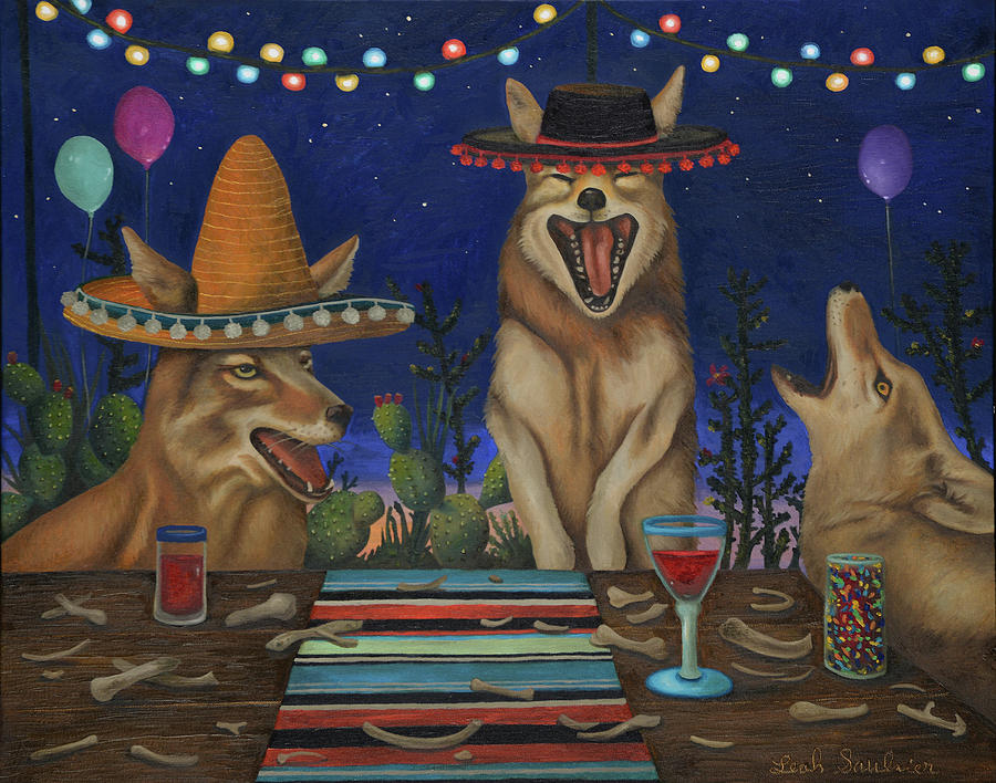 Fiesta De Los Coyote's by Leah Saulnier The Painting Maniac