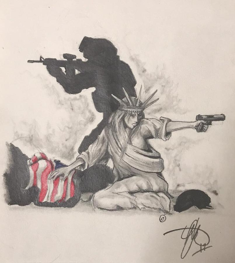 Liberty Drawing - Fighting for Liberty  by Howard King