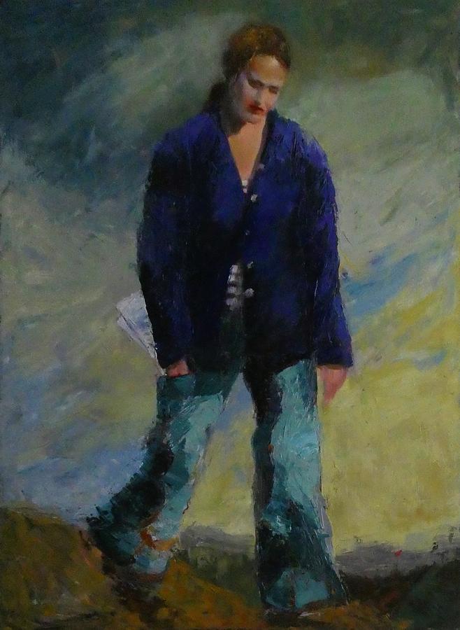 Figure Painting - Downcast Figure In The Dark Jacket by Irena Jablonski