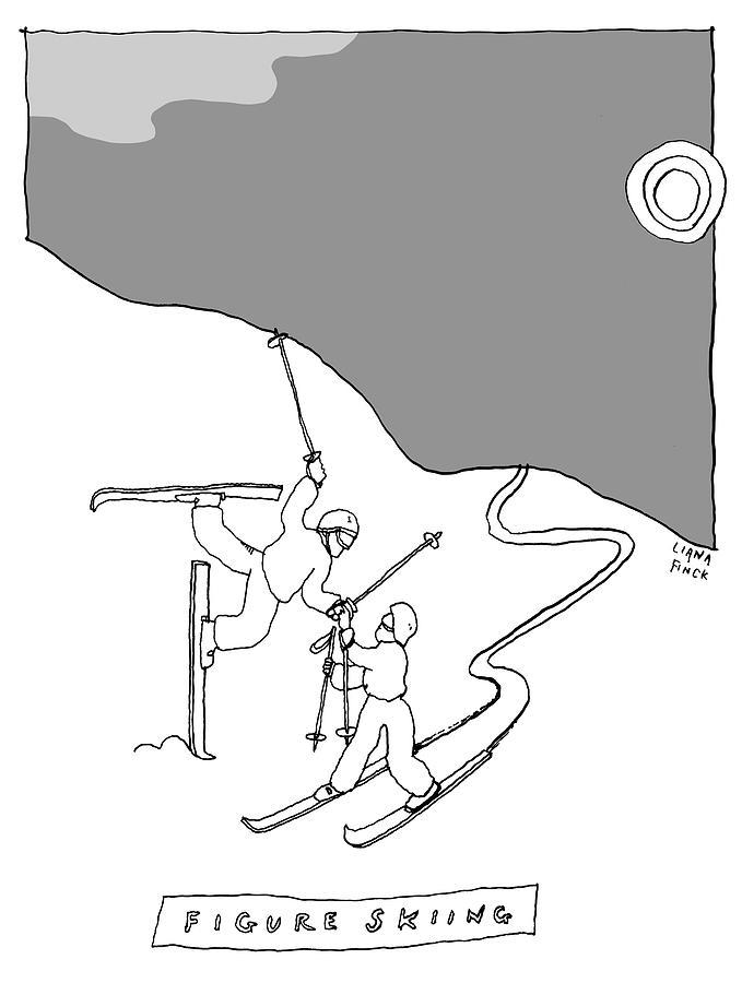 Figure Skiing Drawing by Liana Finck