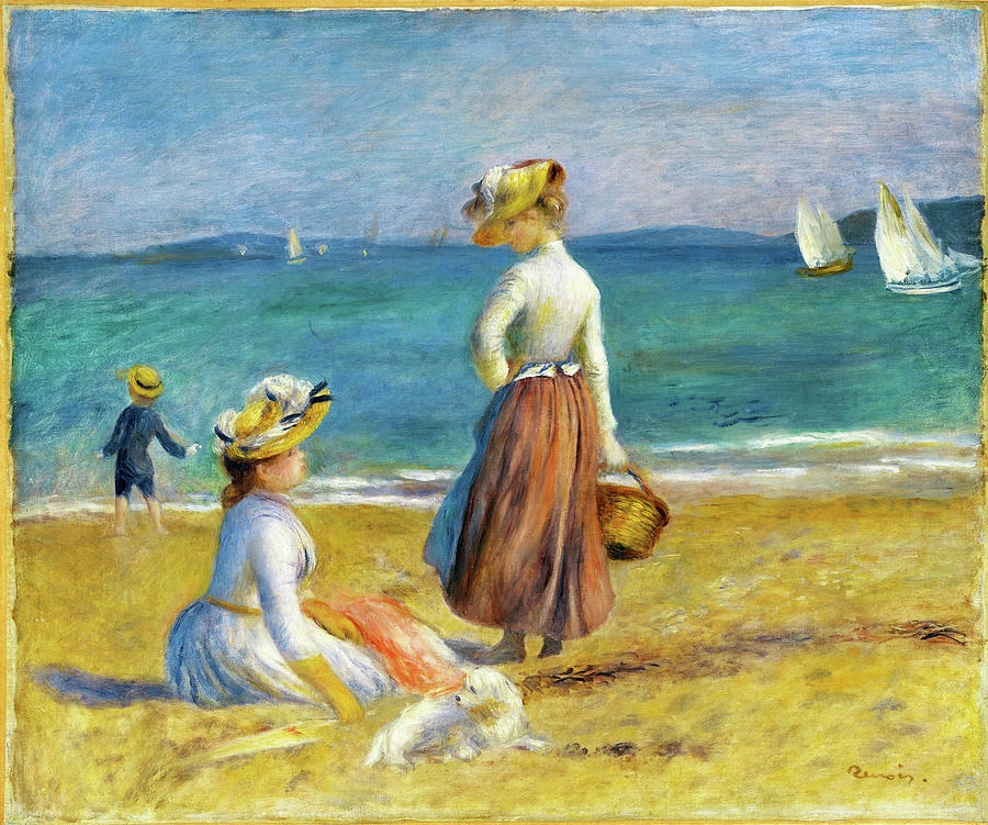 Guernsey Painting - Figures On The Beach - Digital Remastered Edition by Pierre-Auguste Renoir