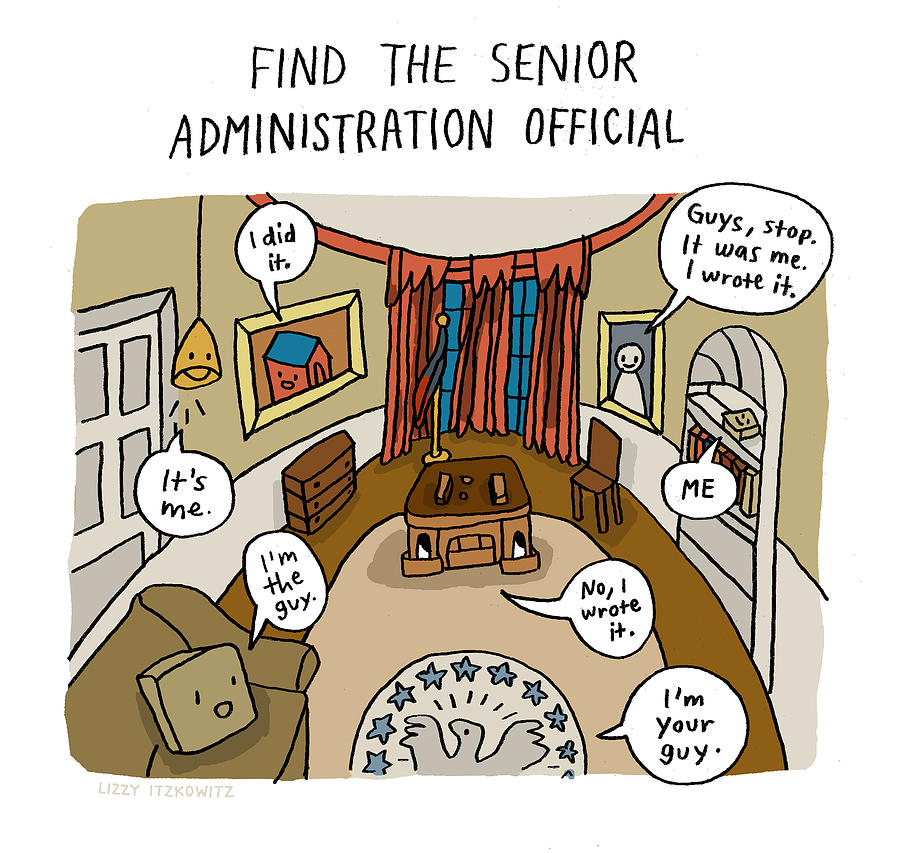 Find The Senior Administration Official Drawing by Lizzy Itzkowitz