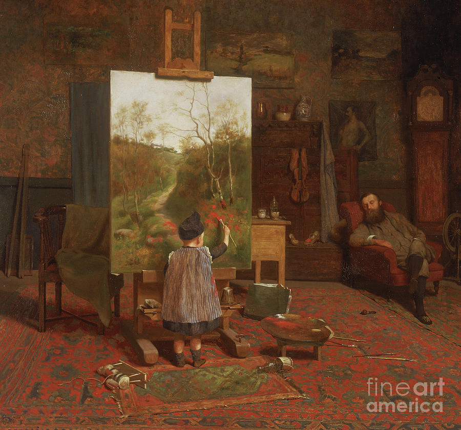 Mischief Painting - Finishing Touches, 1889  by William Brint Turner