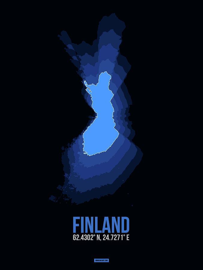 Map Of Finland Digital Art - Finland Radiant Map I by Naxart Studio