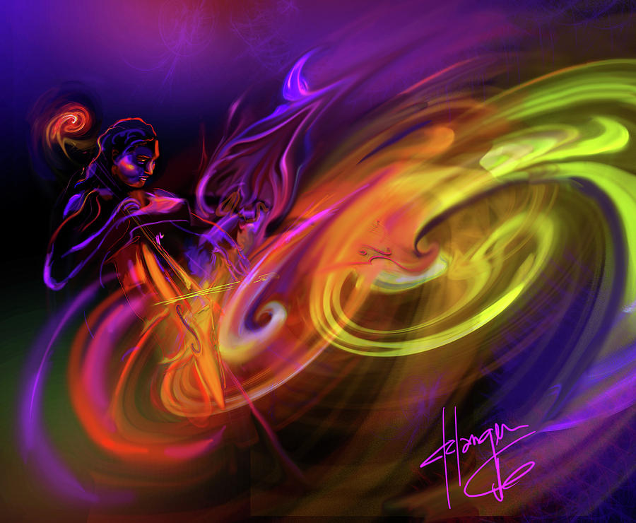 Fiona Painting - Cellist In Space by DC Langer