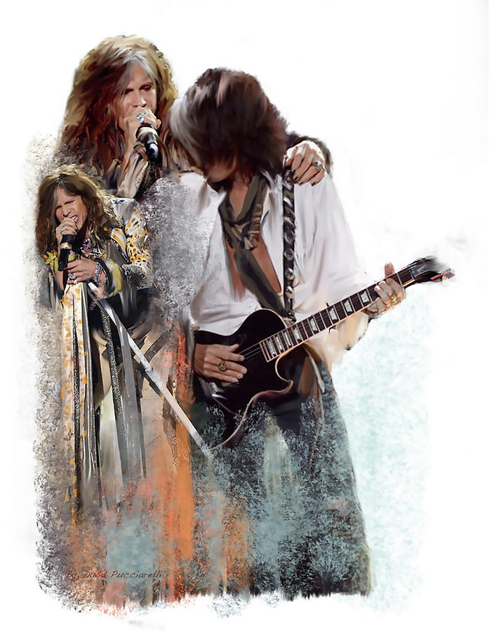 Fire and Lightning Steven Tyler and Joe Perry Aerosmith by Iconic Images Art Gallery David Pucciarelli