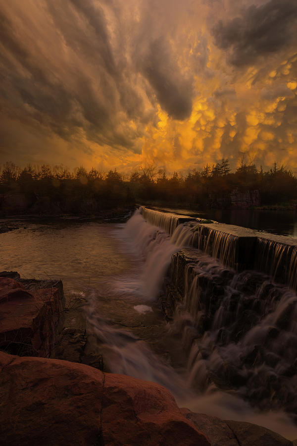 Waterfall Photograph - Fire And Water  by Aaron J Groen