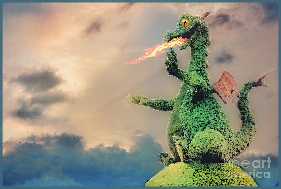 Fire Breathing Dragon Topiary Photograph