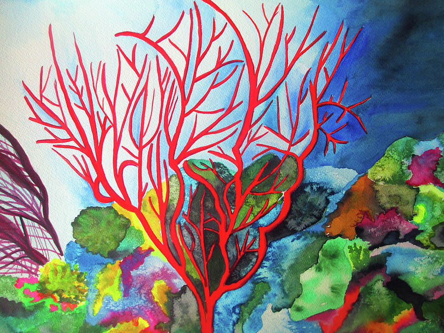 Coral Painting - Fire Coral by Sacha Grossel