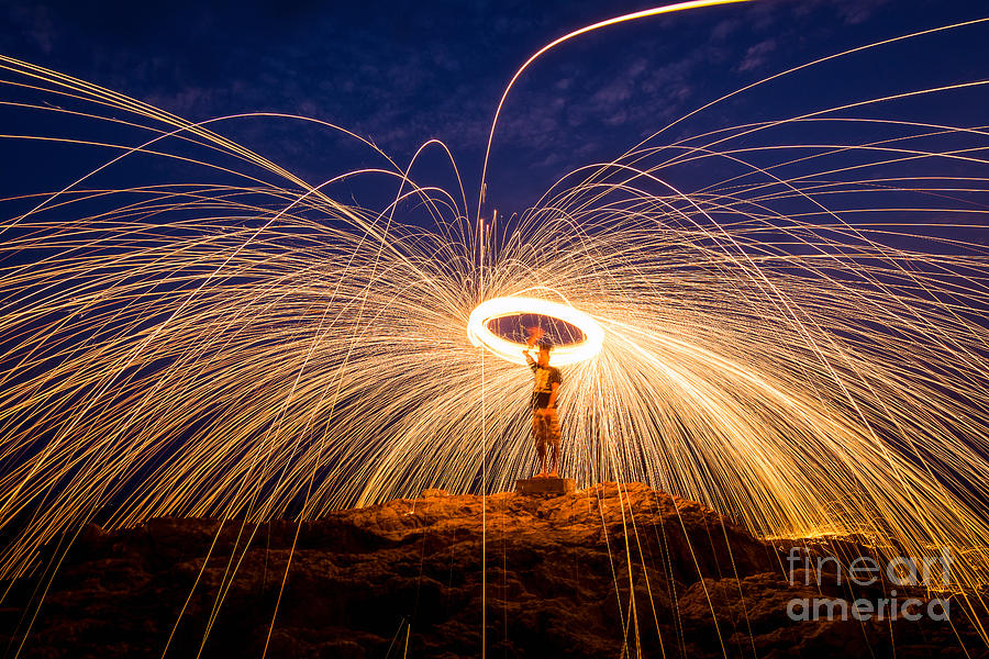 Heat Photograph - Fire Dancing On The Rocks by Infinity T29