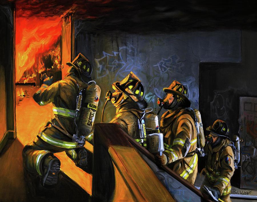 Urban Scenes Painting - Fire Floor by Paul Walsh
