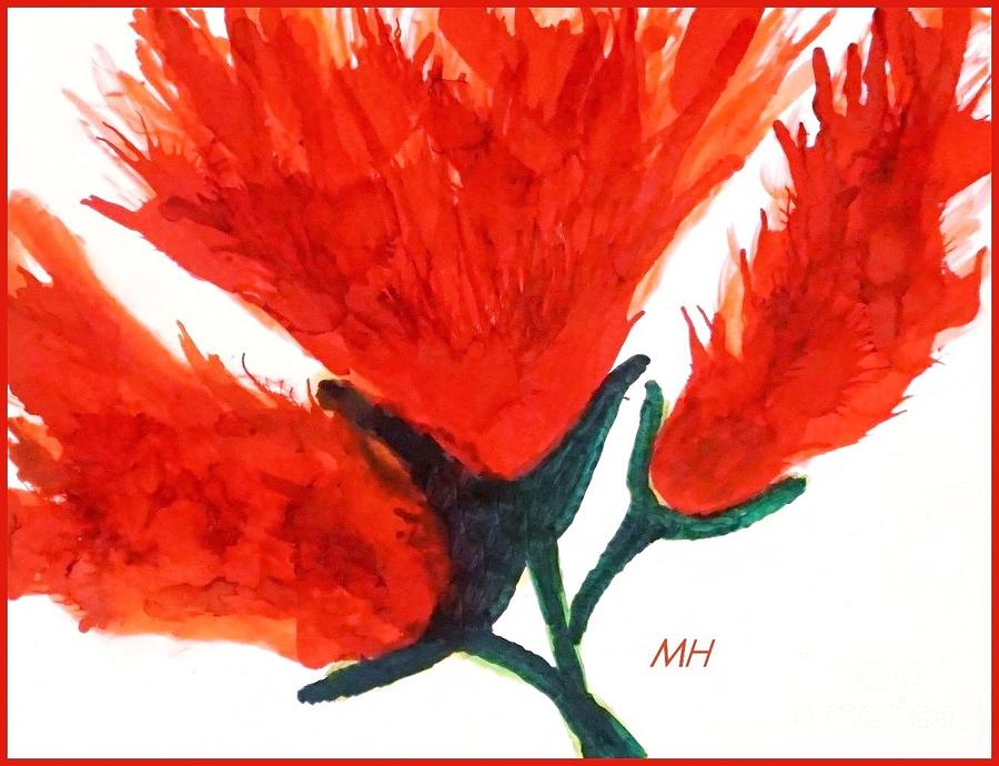 Abstract Flower Painting - Fire Flower by Marsha Heiken