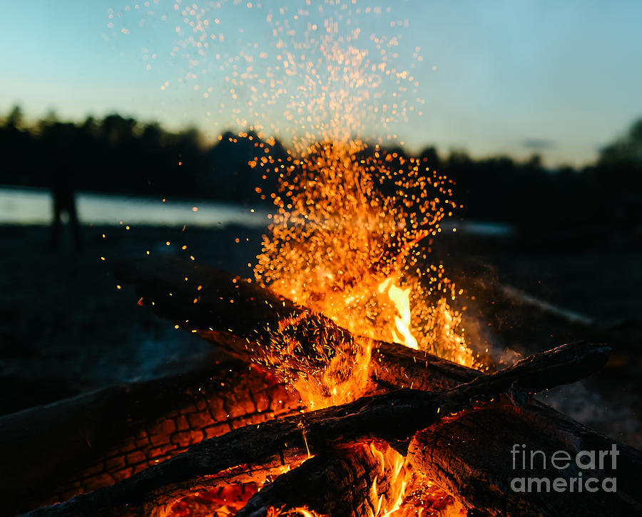 Magic Photograph - Fire In Nature  Bokeh From The Fire by Ivandan