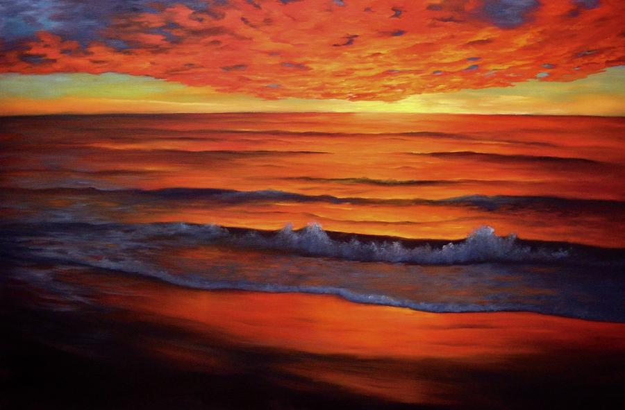 Sunset Painting - Fire in the Sky by Francine Henderson