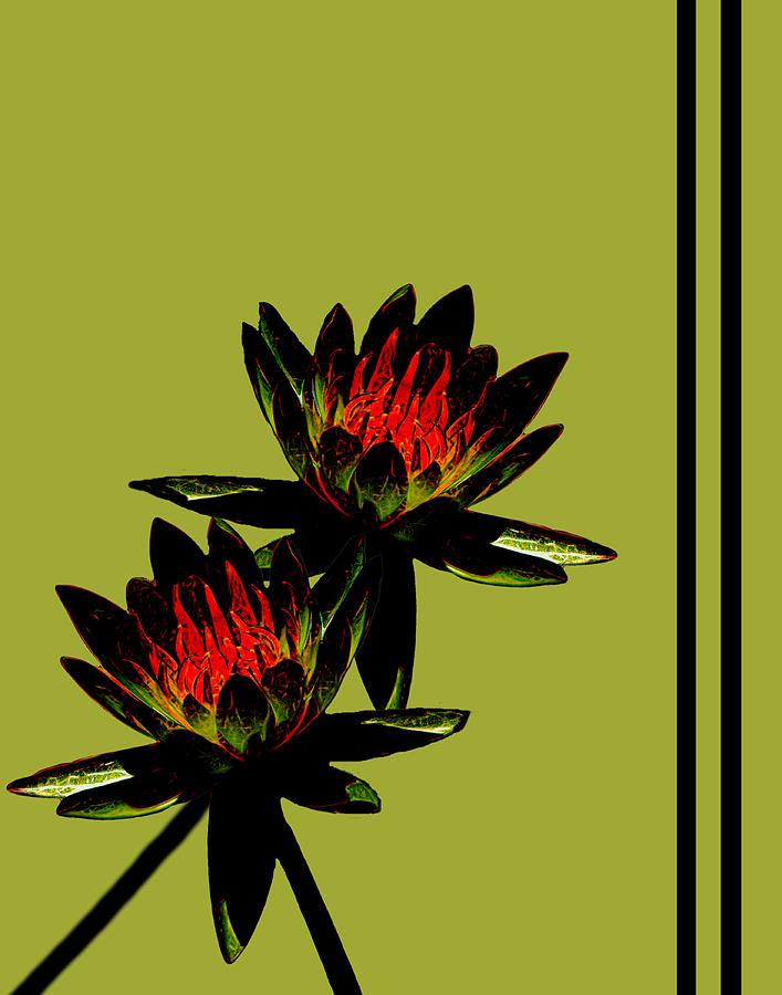 Water Lilies Mixed Media - Fire Lilies by Rosalie Scanlon
